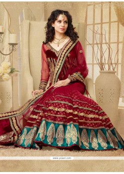 Kangana Ranaut Red Embroidery Net Lehenga Choli