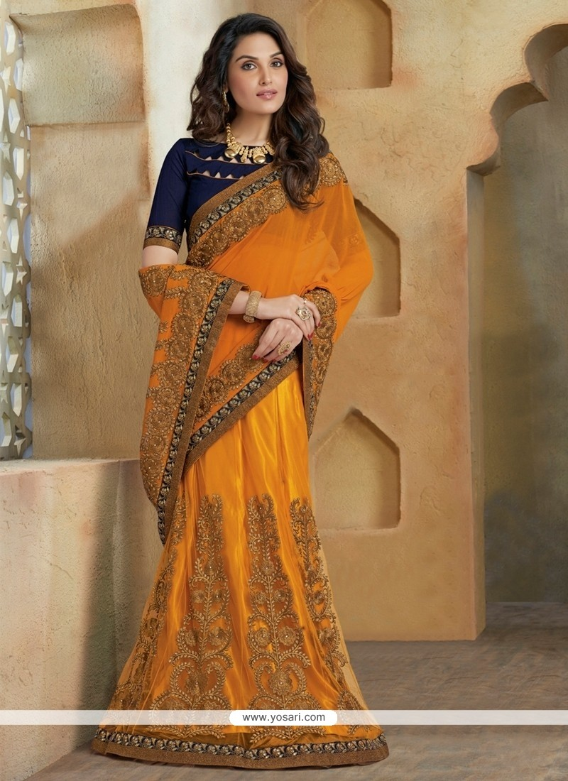 Debonair Yellow Zari Work Lehenga Saree