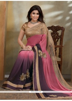 Demure Embroidered Work Georgette Designer Saree