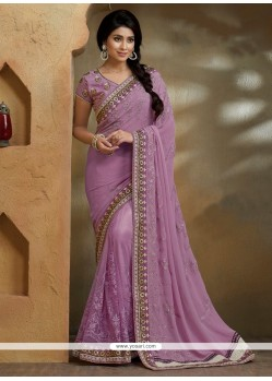 Unique Purple Embroidered Work Georgette Designer Saree