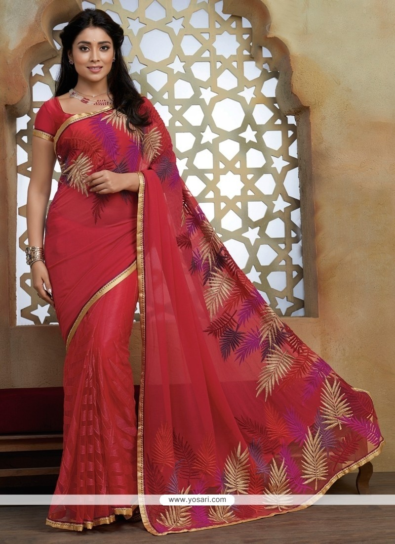 Epitome Hot Pink Lace Work Designer Saree