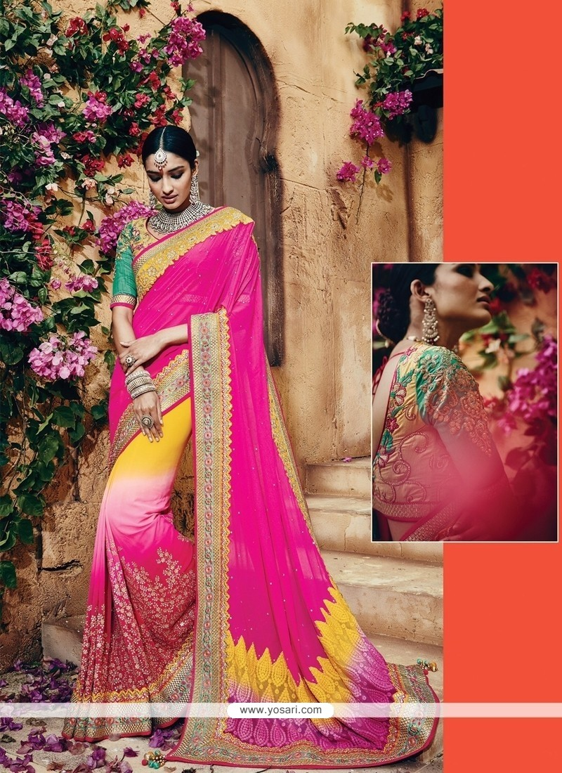 Astounding Patch Border Work Net Classic Designer Saree