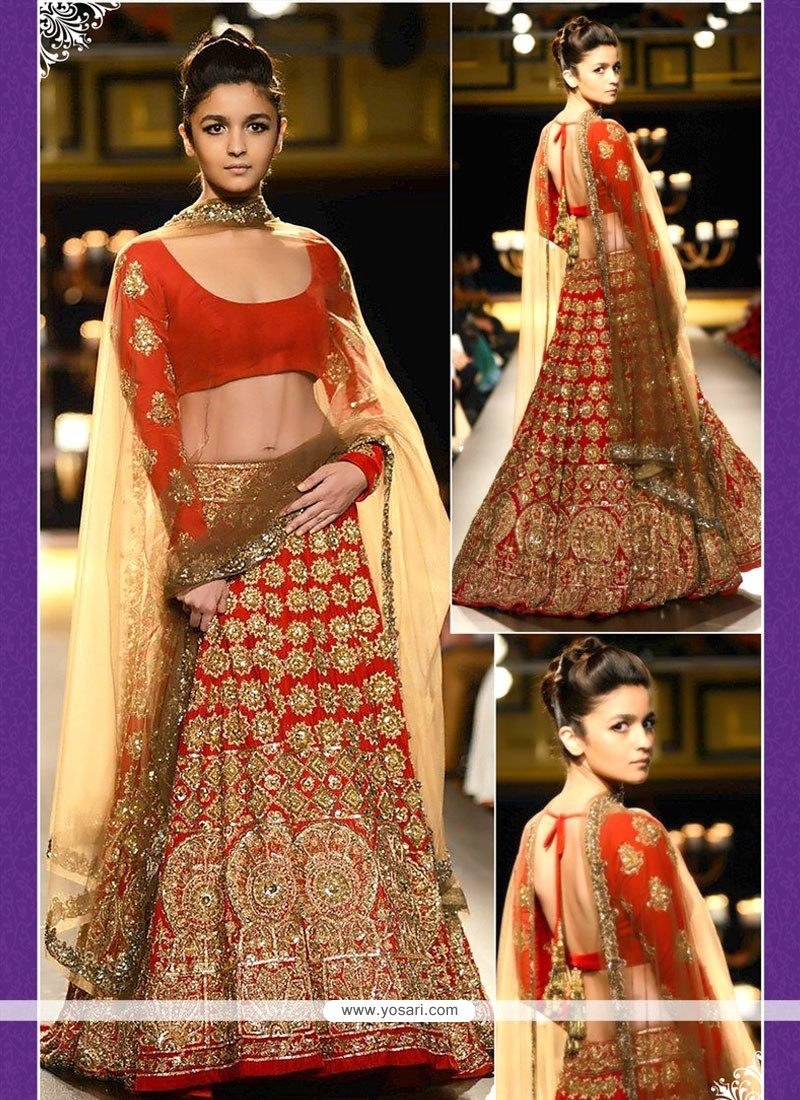 Observable Red Embroidery Work Georgette Lehenga Choli