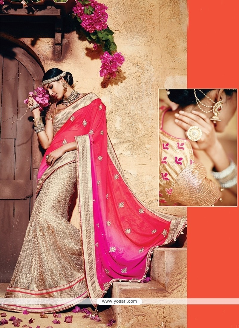 Sterling Patch Border Work Beige And Pink Classic Designer Saree