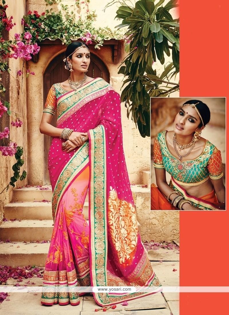 Excellent Banarasi Silk Embroidered Work Classic Designer Saree