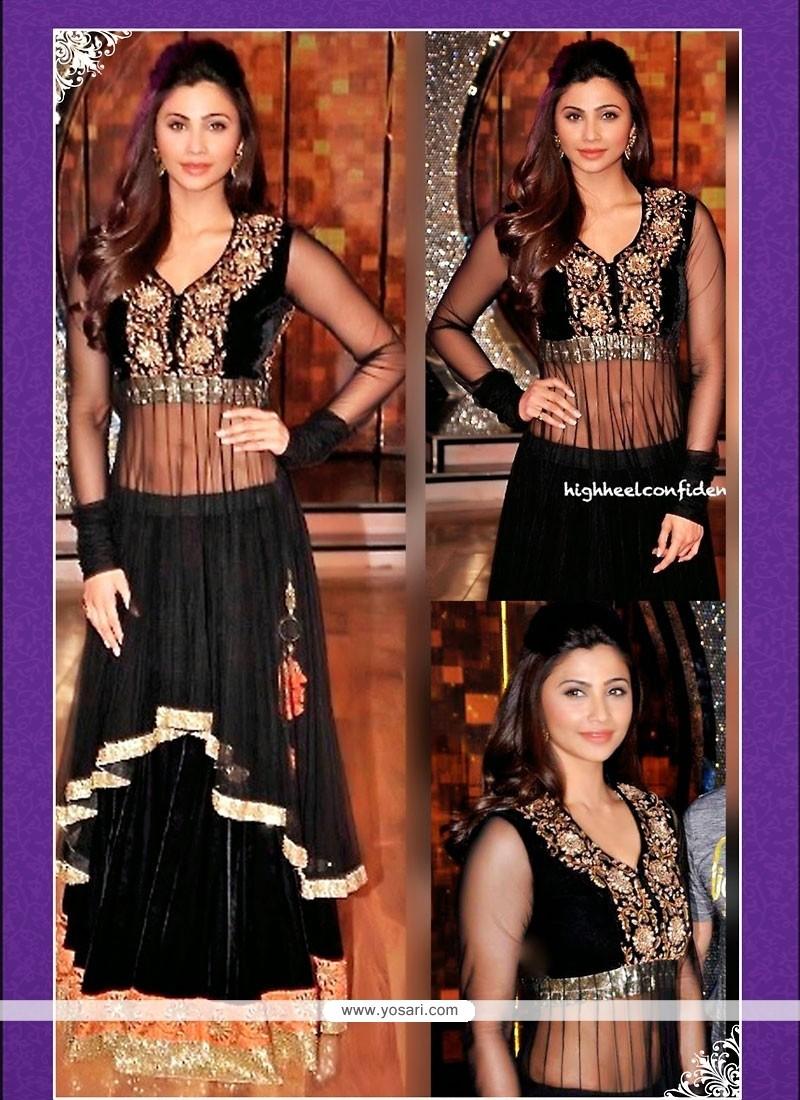 Latest Black Embroidery Velvet Lehenga Choli