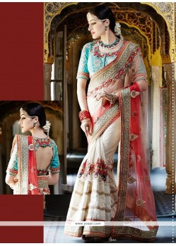 Attractive Net Beige Designer Saree