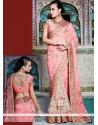 Pink Embroidered Work Net Designer Saree