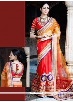 Artistic Georgette Red Designer Saree