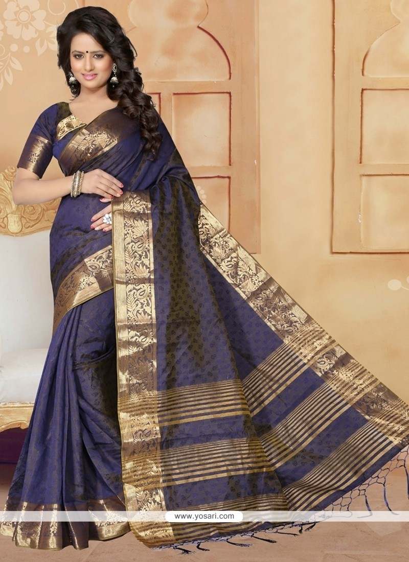 Cute Navy Blue Designer Saree