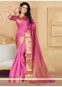 Staring Banarasi Silk Pink Designer Saree