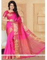 Bewitching Banarasi Silk Hot Pink Designer Saree