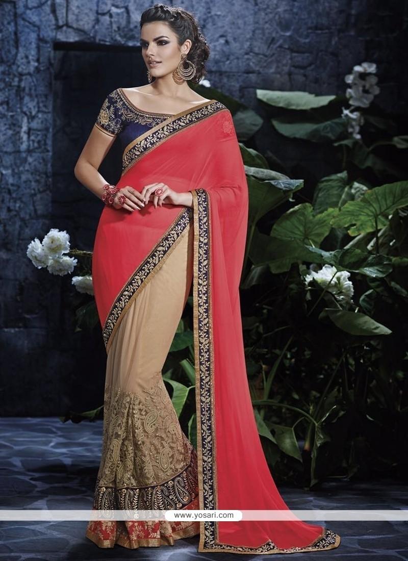 Preferable Faux Chiffon Pink Designer Saree