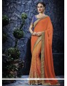 Fine Orange Patch Border Work Designer Saree