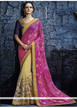 Genius Hot Pink Georgette Designer Saree