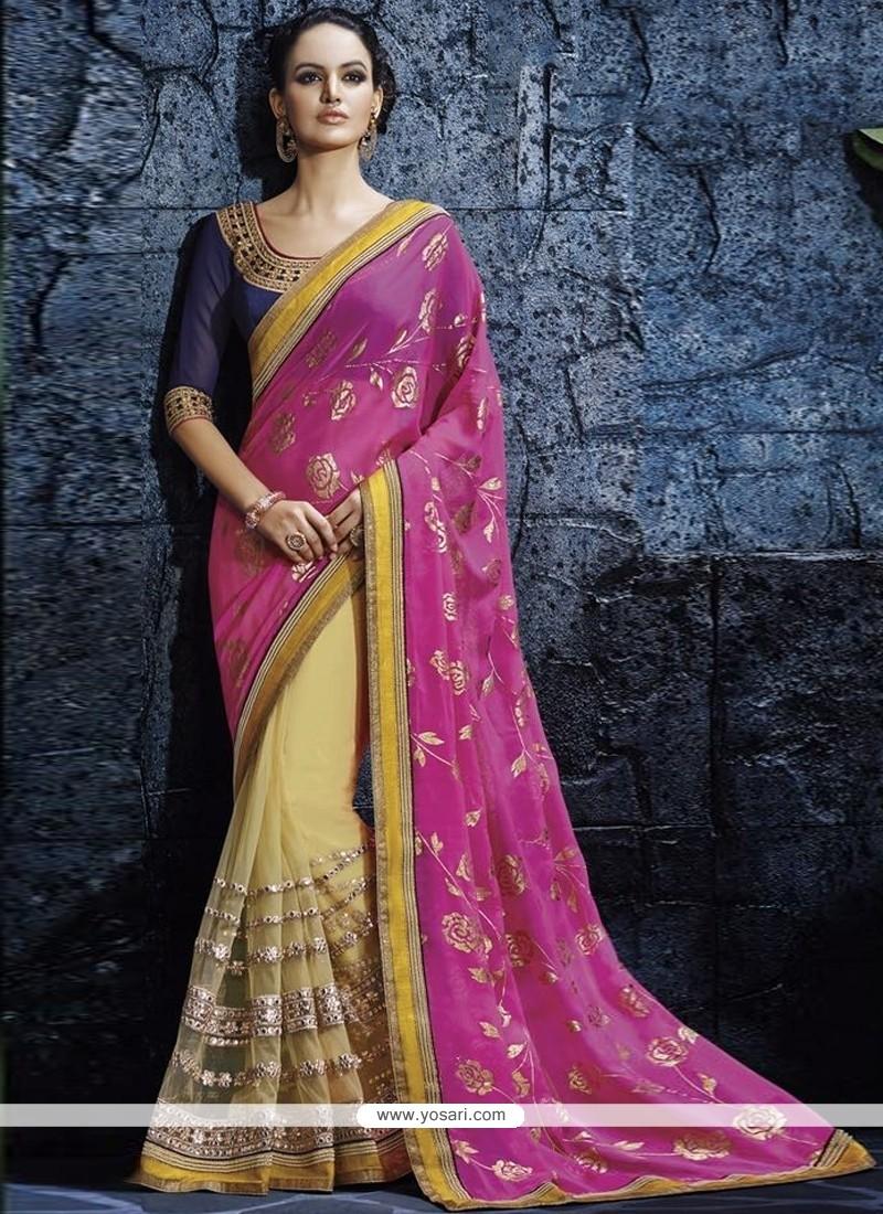 Genius Hot Pink Georgette Designer Saree