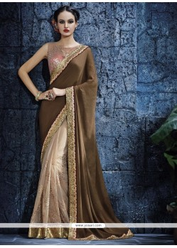 Vivid Satin Embroidered Work Designer Saree