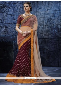 Lively Patch Border Work Lehenga Saree