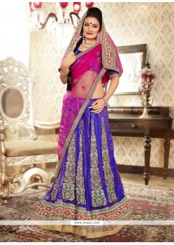 Exquisite Blue Zari Work Net Lehenga Choli