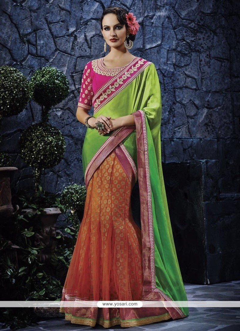 Preferable Green And Orange Embroidered Work Georgette Lehenga Saree