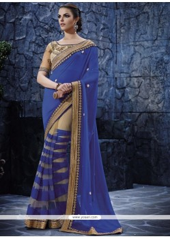 Competent Georgette Patch Border Work Designer Saree