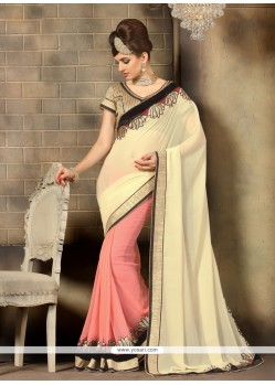 Graceful Cream Lace Work Georgette Designer Saree