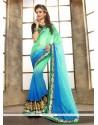 Distinctively Lace Work Sea Green Designer Saree