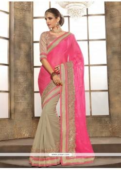 Mod Lace Work Hot Pink Jacquard Designer Saree