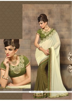 Innovative Embroidered Work Green Faux Chiffon Designer Saree
