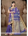 Adorning Lace Work Blue Casual Saree