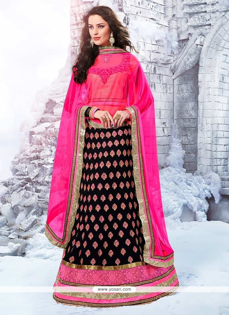 Black And Magenta Velvet A-Line Lehenga Choli