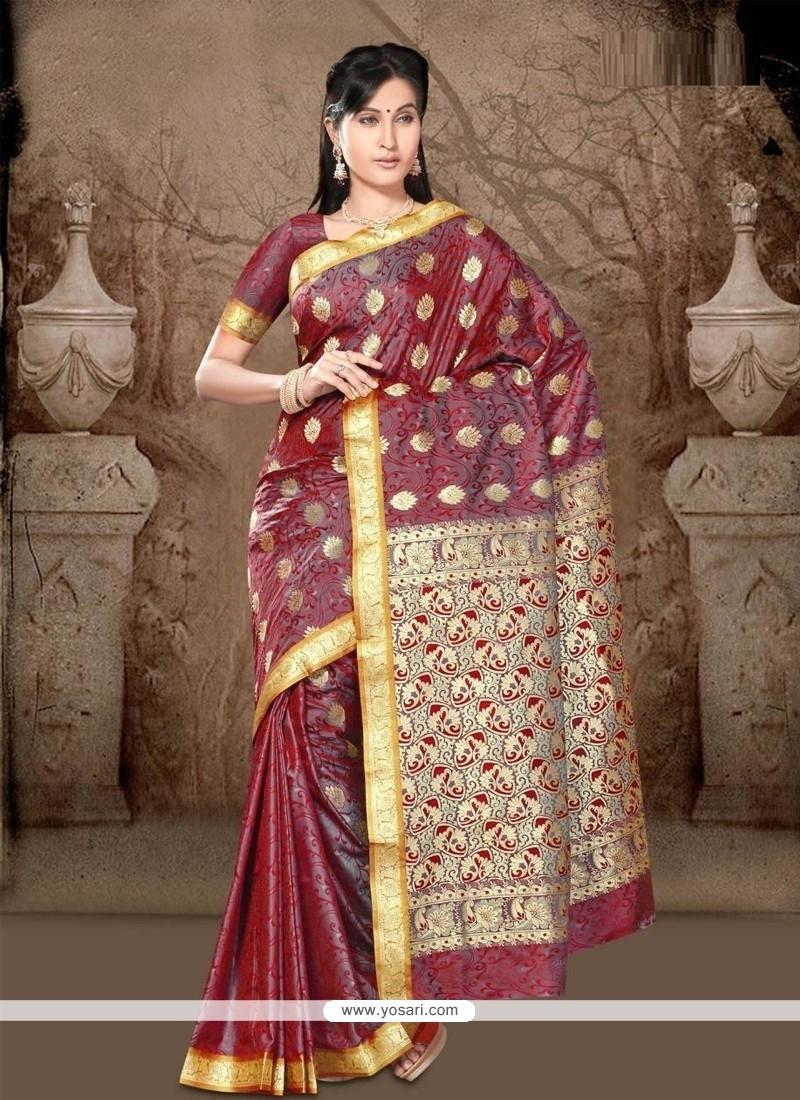 Ravishing Lace Work Maroon Casual Saree