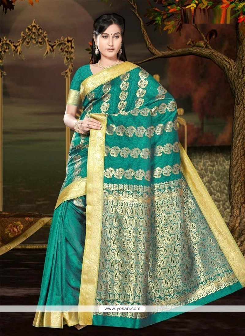 Stylish Lace Work Art Silk Casual Saree