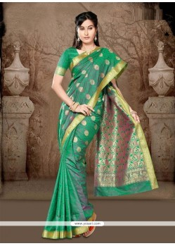 Hypnotic Green Lace Work Art Silk Casual Saree