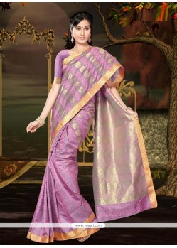 Sterling Multi Colour Lace Work Art Silk Casual Saree