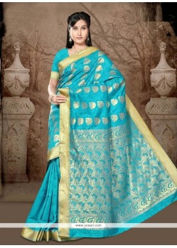 Hypnotizing Art Silk Turquoise Casual Saree