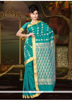 Prominent Art Silk Teal Casual Saree