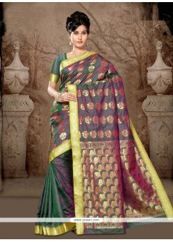 Pleasing Lace Work Green Casual Saree