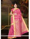Lurid Hot Pink Art Silk Casual Saree