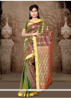 Voluptuous Green Lace Work Art Silk Casual Saree