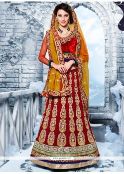 Latest Red Appliques Work Velvet A-Line Lehenga Choli