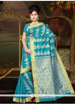 Charismatic Lace Work Art Silk Casual Saree
