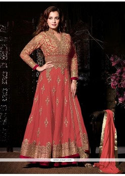 Gorgonize Net Peach Patch Border Work Anarkali Suit