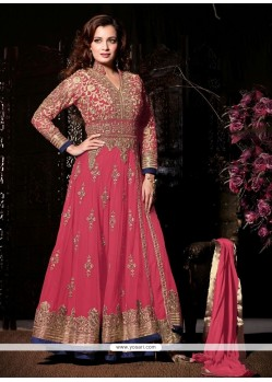 Delightful Embroidered Work Net Anarkali Salwar Suit