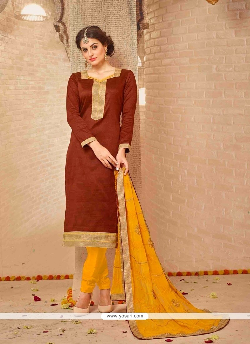 Majesty Lace Work Banarasi Silk Brown Churidar Salwar Suit