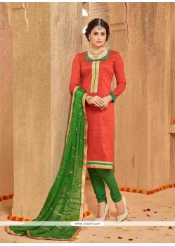 Blissful Banarasi Silk Red Lace Work Churidar Salwar Suit