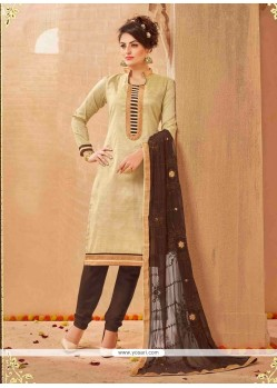 Aristocratic Cream Lace Work Churidar Salwar Suit