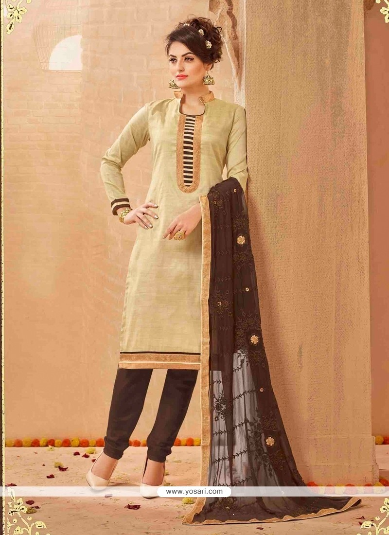 Aristocratic Cream Lace Work Churidar Salwar Suit