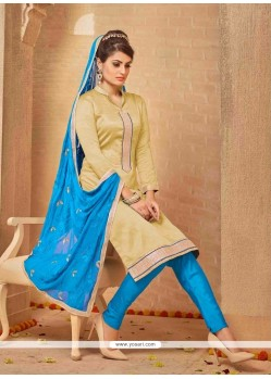 Subtle Lace Work Banarasi Silk Churidar Salwar Suit