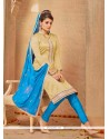 Subtle Lace Work Banarasi Silk Churidar Salwar Suit
